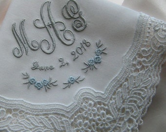 LACE WEDDING HANDKERCHIEF, Bride & Groom, Engagement, Shower Gift, Monogram, Date, Personalize, Made in Germany, Gift Box, Portrait 12x12