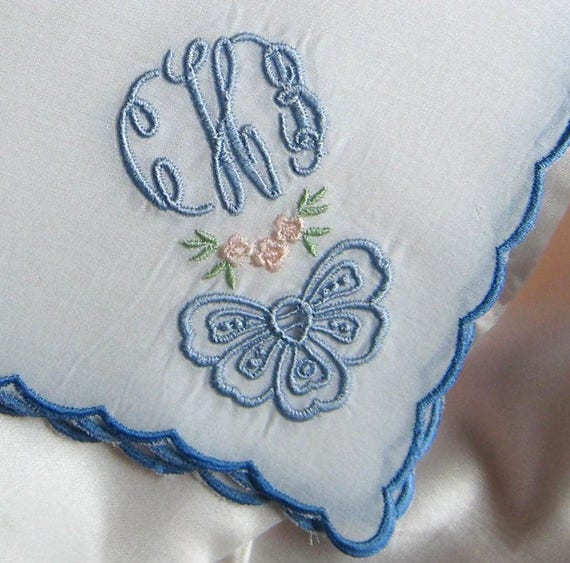 3 Pack Of Womens//Ladies Embroidered Initials Handkerchiefs With White Satin Border M