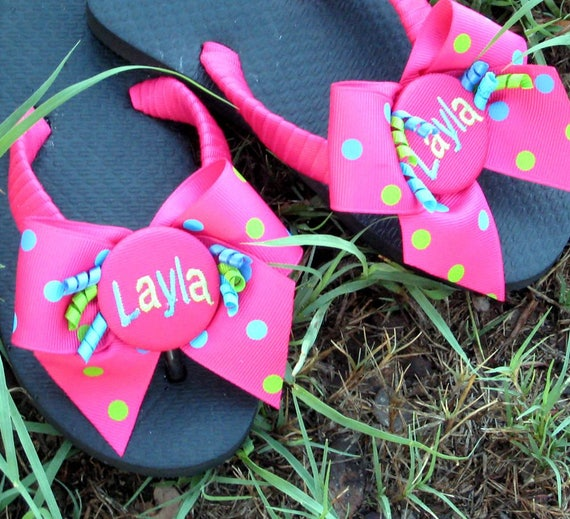 d4b3ec639 GIRLS FLIP FLOPS Colorful Shocking Pink Polka Dot Bows