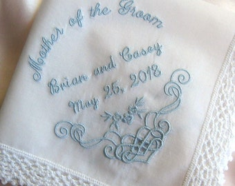 MOTHER of the GROOM HANDKERCHIEF, Unique Arch Letters, For Weddings/Engagement Gift, Personalize, Cutwork Design, Gift Box, Lace Edge 12x12