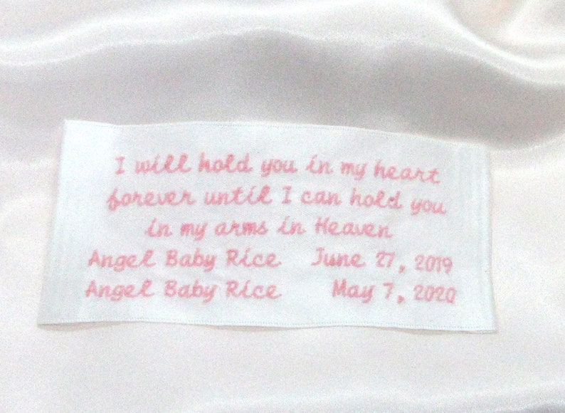 3x5\u201d 3 fonts 3-5 lines of embroidered text MEDIUM IN MEMORY of Label 5 Colors Double Face Satin Polyester Ribbon for quilts /& blankets
