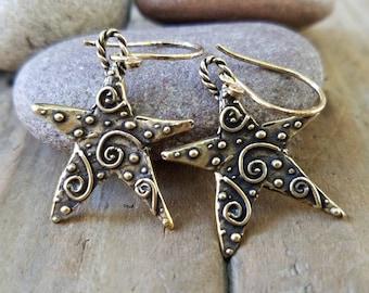 Celestial Jewelry Pierced Earrings Whimsical Star Earrings Artisan Sterling Siver Star Earrings Star Jewelry