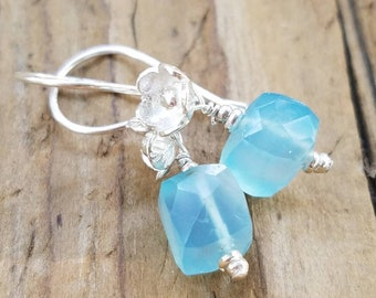 Blue Chalcedony Earrings and Hill Tribe Silver, Sterling Silver, Hill Tribe Flower Earrings, Pierced Earrings, Light Blue Chalcedony