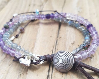 Shaded Amethyst and Labradorite Bracelet with Hill Tribe Silver, February Birthstone, Sterling Silver Heart, Leather Bracelet