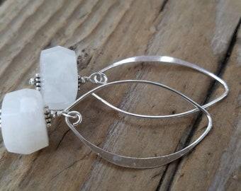 Rainbow Moonstone Earrings and Hill Tribe Silver, Sterling Silver, Moonstone Jewelry, Pierced Earrings, Artisan Earrings