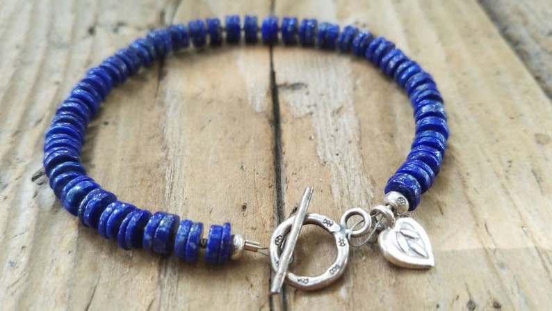 Lotus Flower Charm Lapis Bracelet and Hill Tribe Silver Minimalist Jewelry Artisan Jewelry Gifts for Her Heart Charm Lapis Jewelry