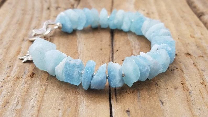Rough Aquamarine Jewelry Raw Aquamarine Bracelet and Hill Tribe Silver March Birthstone Sterling Silver Starfish Charm Artisan