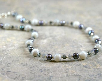 Botswana Agate Freshwater Pearl and Swarovski Crystal Necklace