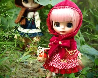 Blythe red riding hood plaid dress lolita outfit set