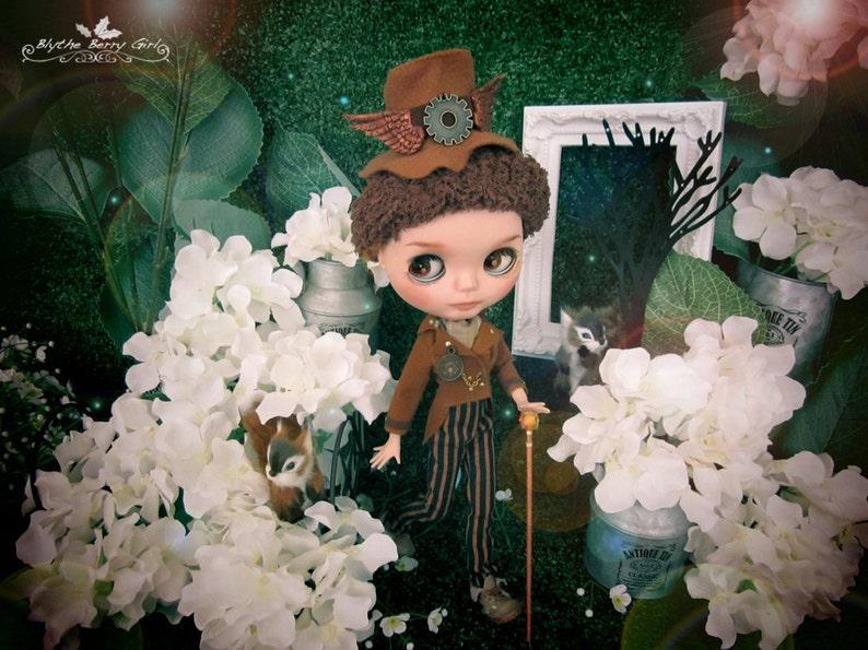 Blythe steam punk Alice in Wonderland Mad Hatter suit boy outfit set