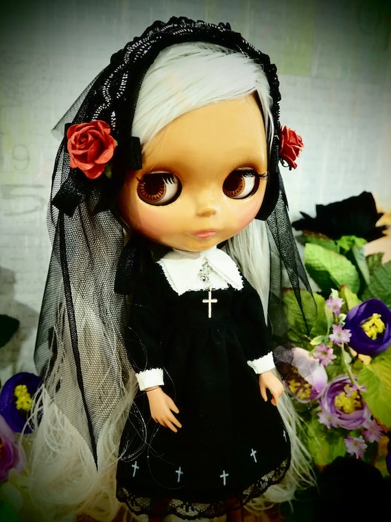 Blythe Gothic Lolita black maid Holy Spirit dress Outfit