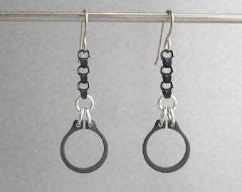 Chain Earrings, Black Earrings, Industrial Earrings, Hardware Earrings, Hypoallergenic Earrings, Black Dangle Earrings, Edgy Jewelry