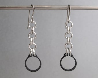 Chain Earrings, Industrial Jewelry, Steel Earrings, Long Dangle Earrings, Hardware Earrings, Hypoallergenic Earrings, Edgy Jewelry
