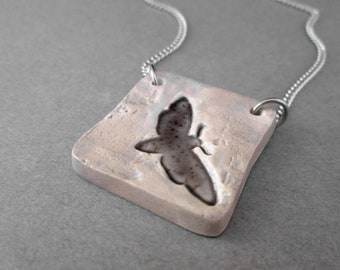 Grunge Moth Necklace, Distressed Industrial Necklace, Edgy Necklace