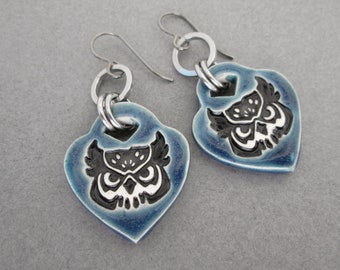Great Horned Owl Earrings, Dangle Owl Earrings, Halloween Dangle Earrings, Padlock Earrings, Hypoallergenic Earrings