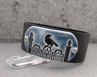Gothic Raven Bracelet, Halloween Bracelet, Raven Cuff Bracelet, Crow Bracelet, Black Leather Cuff Bracelet