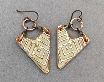 Chevron Earrings, Southwestern Earrings, Hypoallergenic Triangle Earrings, Ceramic Earrings