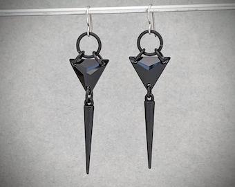 Black Swarovski Crystal Earrings, Triangle Dangle Spike Earrings