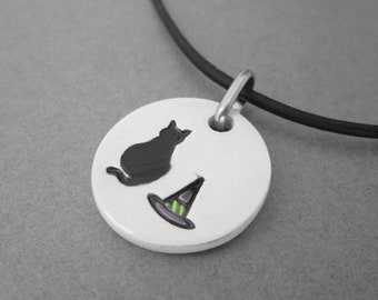 Black Cat Halloween Necklace, Witch Necklace, Black Cat Jewelry