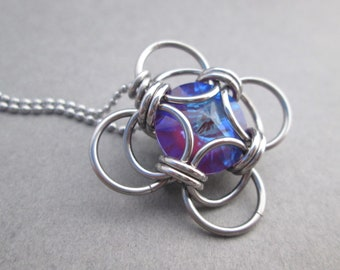 Blue and Purple Crystal Necklace, Stainless Steel Chainmail Necklace, Swarovski Crystal Pendant Necklace