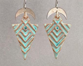 Southwestern Chevron Earrings, Hypoallergenic Geometric Earrings, Turquoise Ceramic Earrings