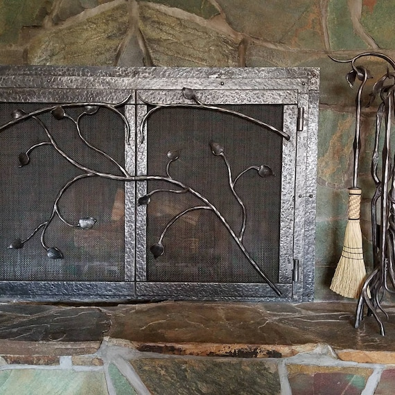 Wrought Iron Fireplace Screen Door Set With Matching Tools Branches And Leaves