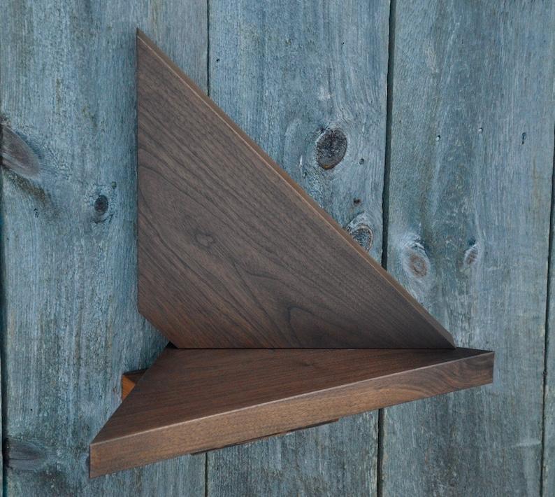 Corner Floating Shelves Solid Walnut 25 Wide Matching Pair Etsy