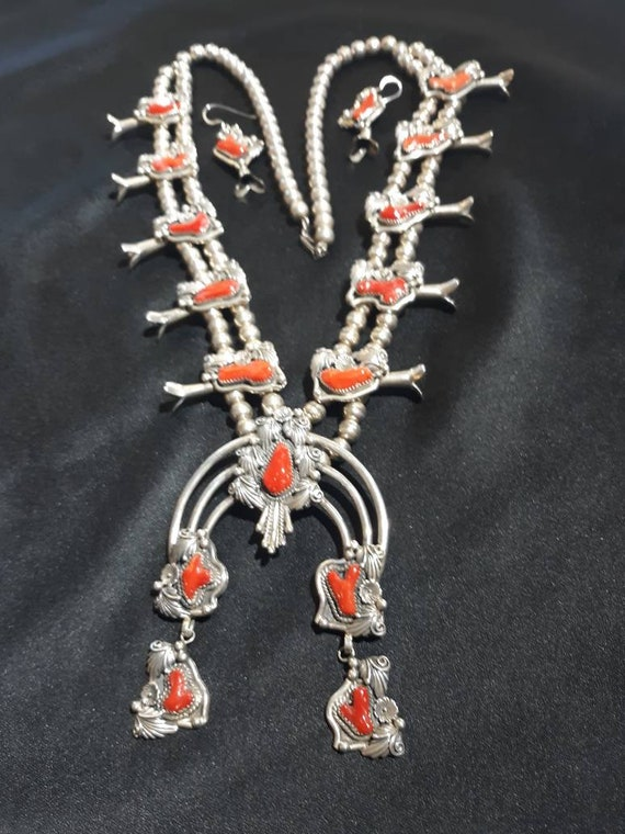 Coral Navajo squash blossom necklace