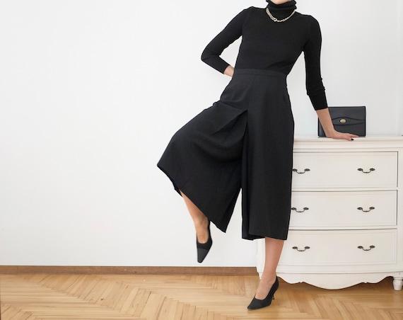 Black Vintage Trousers Cullotes L - XL