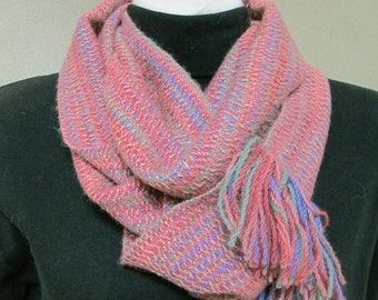 Alpaca handwoven infinity rose pink hand dyed cowl scarf