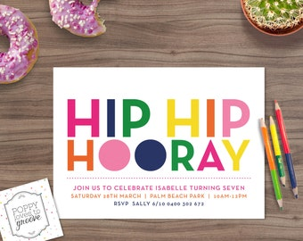 Printable Birthday Invitation Hip Hooray Party Custom Invitations Kids Invite Invites Digital File 5x7