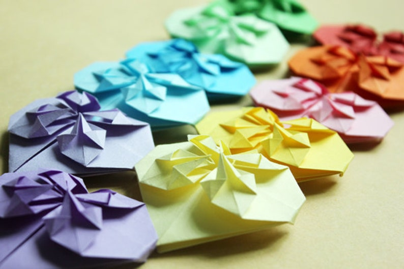 Valentine Symbol Of Love Origami 3d Paper Hearts Handmade Etsy