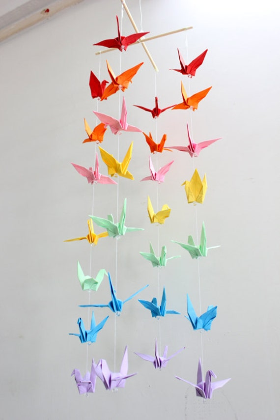 Baby Crib Mobile Origami Paper Crane Amazing Colorful