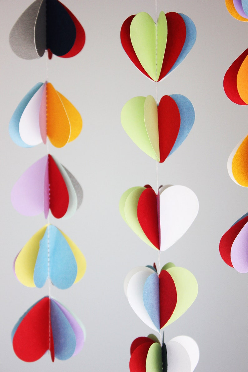3d Heart Garland Rainbow Hearts Banner Multi Colors Paper Etsy
