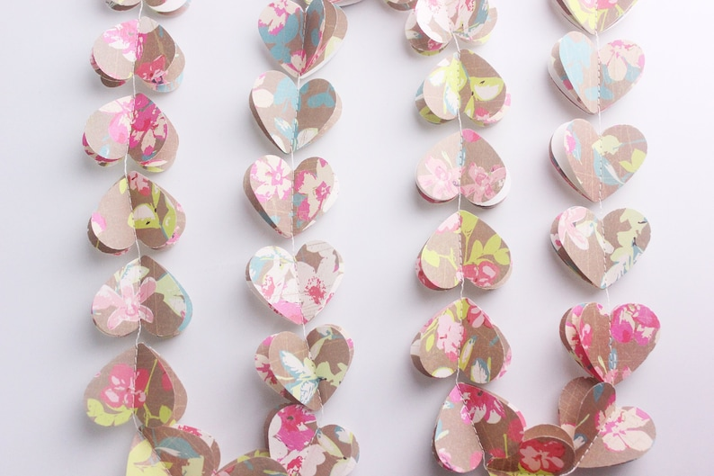 3D Heart Rustic Garland Flower Banner Paper Hearts Garland Floral Mobile for Wedding Party Bridal Shower