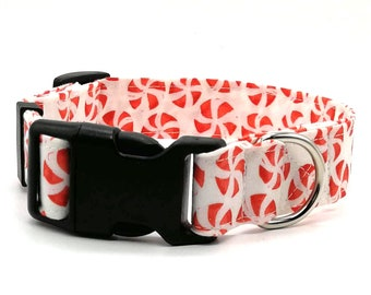 Dog Collar - Christmas red and white peppermint twist