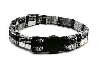 Black and grey plaid tartan with quick release safety clasp