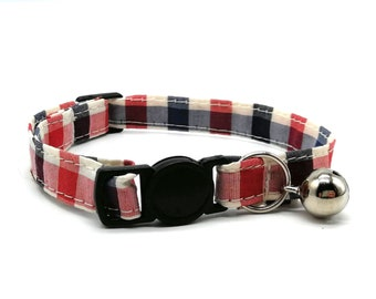 Cat Collar - red, white and blue gingham breakaway safety collar