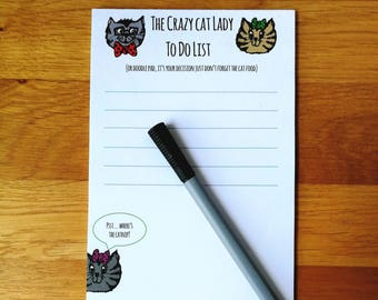 Crazy Cat Lady To Do Notepad - Shopping List