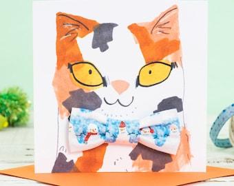 Christmas Cat Gift Set  - Snowman Slide on Bowtie