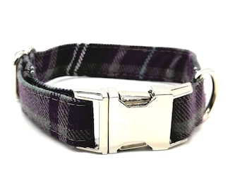 Dog Collar - Purple Plaid Check Dog Collar