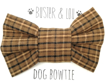 Dog Bow Tie - Brown Plaid