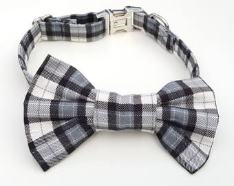 Black and White Plaid Check Dog Collar and Bowtie Set