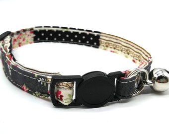 Navy and grey patchwork breakaway safety collar