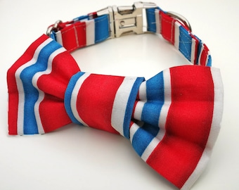 Red, White and Blue Stripe Dog Collar Bowtie Set