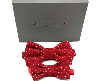 Gift Set - Matching red spot babycord Butterfly style bowtie or bowtie brooch and cat bowtie or dog bowtie