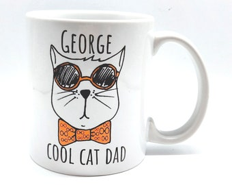 Personalised Cool Cat Dad Mug   Personalised Mug and Coaster Set   Personalised Coaster
