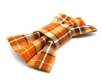 Dog Bow Tie - Orange Plaid Check