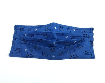 Face Mask Blue Dog Print