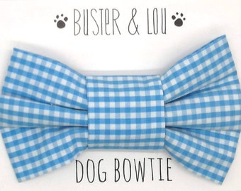 Slide on Dog Bow Tie - light blue and white gingham